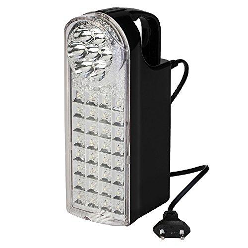 Poly Pool PP3300 Lampada di Emergenza Portatile Ricaricabile 32 + 7 LED 3 Funzioni con 80 cm di Cavo Spina 10 A, Presa USB, Presa Auto