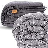 rocabi beschwerte Decke (9,kg / 20 lbs) und Bezug Luxus-Set (152x203,cm) Steppdecke Daunendecke in Queen-Size | Abnehmbarer Bezug mit Premium-Glasperlen und weich wie Nerz