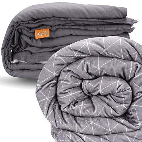 rocabi beschwerte Decke (9,kg / 20 lbs) & Bezug Luxus-Set (152x203,cm) Steppdecke Daunendecke in Queen-Size | Abnehmbarer Bezug mit Premium-Glasperlen & weich wie Nerz
