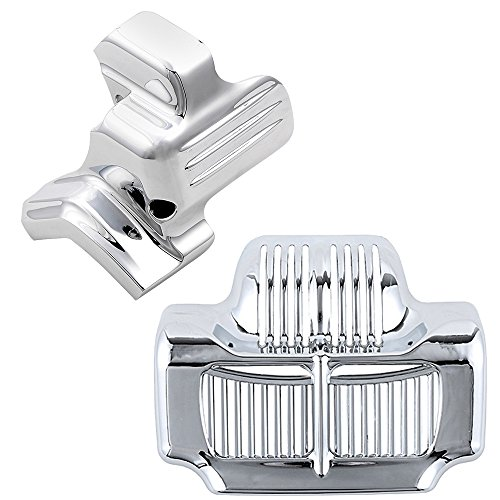 Chrome Starter Cover + Stock Oil Cooler Insert Kit Compatible with 2011-2016 Harley Road King Electra Street Glide