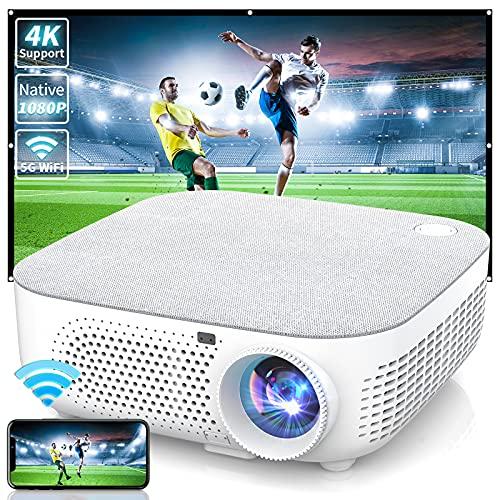 WISELAZER Proiettore WiFi, 8500 Lumen Proiettore Full HD Nativo 1920x1080P, Supporto 4K Schermo 300  per Home Cinema Theater, 5G Wireless Videoproiettore Compatibile con Smartphone,TV Box, PC