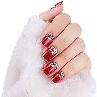 24pcs False Nail Glitter Decorated Solid Red Short Square Full False Nails Tips (red glitter)