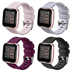 Available:Silicone watch bands suitable and compatible for Fitbit Versa/Fitbit Versa 2 /Fitbit Versa Lite Adjustable:Small size suited for 5.7''-7.8''inch wrist (147-200mm),Large Size suited for 6.9''-9.0''inch wrist (176-230mm) Material:Replacement ...