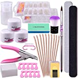 BQTQ Nail Art Kit 3 Boxes Acrylic Powder in Clear White and Pink, False Nail Tips, Acrylic Nail Clipper Nail Art Tools Kit for Acrylic Nail Extension