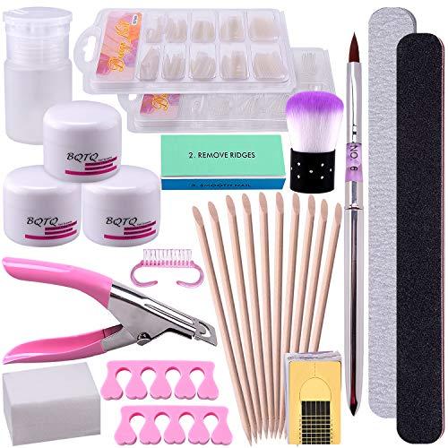 BQTQ Acrylique Ongles Poudre Kit avec 3 Couleur Acrylique Poudre, Faux Ongles, Limes à Ongles, Séparateur de Doigts pour Art d'Ongles Poudre Tips