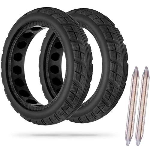 AGPTEK Ruota Solida per Monopattino Elettrico Xiaomi M365/M365 PRO, Pneumatico Anteriore/Posteriore da 8,5 Pollici Nido d'Ape con 2 Pezzi di Leva,Pneumatico Antislittamento e Ammortizzante(2 Pezzi)