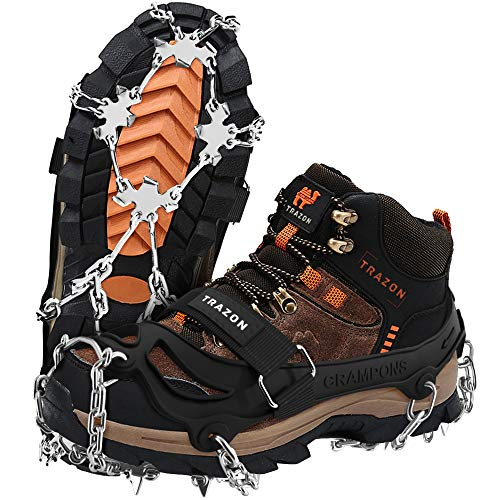 Crampons Ice Cleats for Hiking Boots and Shoes, Anti Slip Walk Traction Spikes, Snow Ice Grippers and Grips, Safe Protect for Hiking Climbing Fishing Mountaineering Walking for Men Women (Large)
