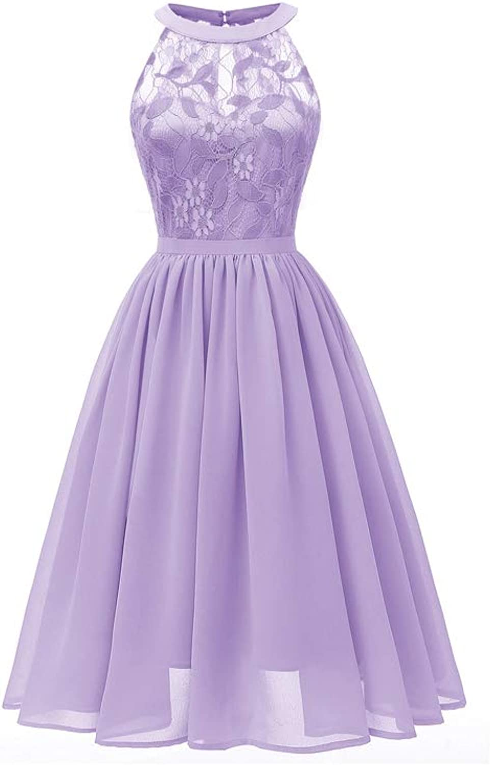 Aignse Dress Femme Women Princess Purple Floral Lace Cocktail Neckline Party A line Swing Dress