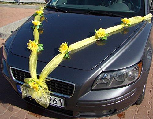 ORGANZA M Auto sieraden bruidspaar roze deco decoratie autosieraad bruiloft car auto wedding deco slinger personenauto (geel/geel)