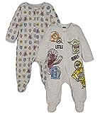 STAR WARS Baby Boys 2 Pack Sleep N' Play Footies Chewbacca Yoda R2-D2 0-3 Months