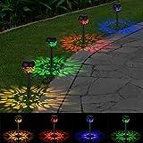 OOWOLF LED Solarleuchten Garten 4 Stücke|Solar Gartenleuchte IP65 wasserdicht|LED Wegleuchte Solar 4 Farben bunt| Solarlampen Solarlicht für außen Garten Weg Patio Rasen Terrasse