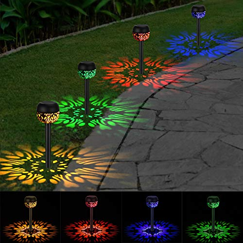 4 Pack Jardín Lámpara de Camino de Paisaje, OOWOLF 4 Colores Impermeable...