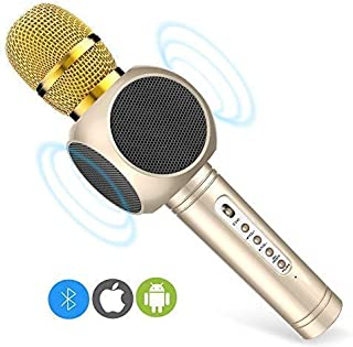 Karaoke Microphone, MODAR Wireless Microphone Handhold Mic Bluetooth Speaker 3.0, 3-in-1 Dual Speakers Built-in Chargeable Battery for Outdoor Home Party KTV Playing Singing Music, Gift for Kids