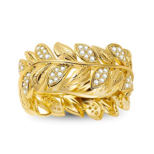 GNOCE 925 Sterling Silver Wreath Ring 18K Gold Plated Women Rings inlaid with Stones Eternity Wedding Bands Promise Rings for Her (Gold, N 1/2)