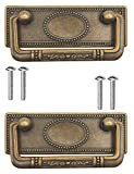 FUXXER - 2 tiradores de muebles antiguos, plegables, tiradores de cajones, tiradores de armario, asas plegables para baúles, armarios, cómodas, diseño antiguo de latón bronce, 95 x 41 mm, juego de 2