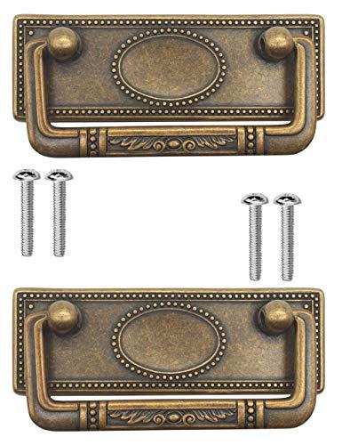 Fuxxer® - 2 maniglie antiche pieghevoli per mobili e cassetti, per cassapanche, armadi, cassettiere, in ottone anticato, 95 x 41 mm, set da 2 pezzi