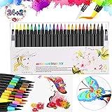 Wasserfarben Pinselstifte 24 Farben,FEALING Aquarellstifte-Set - Weiche & Flexible Echte Pinselspitzen -zum Malen Ausmalen Zeichnen Basteln & Kalligraphie