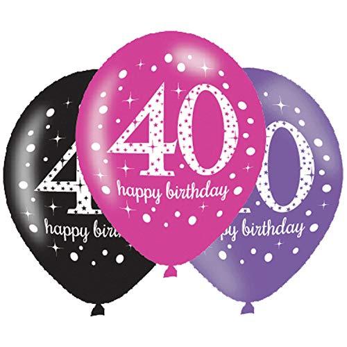 "Amscan Geburtstag Latex-Luftballons Feier: 40. Happy Birthday Rosa, Lila und Schwarz 27,5 cm , 6 Stück ""."