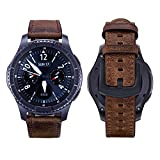 iBazal Gear S3 Watch Band 46mm, Gear S3 Frontier/Classic Bands 22mm Genuine Leather Bands Replacement Strap for Samsung Gear S3 Frontier/Classic SM-R760/Huawei Watch GT Men- Brown+Black Clasp