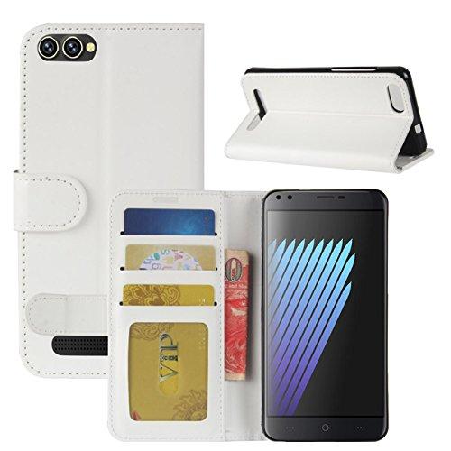 HualuBro Doogee X30 Hülle, Premium PU Leder Leather Wallet Handyhülle Tasche Schutzhülle Hülle Flip Cover mit Karten Slot für Doogee X30 5.5 Inch Smartphone (Weiß)