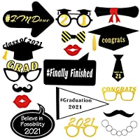 Lurrose 卒業写真ブース用小道具 大きな卒業写真小道具 2020年卒業記念 スティック付き 子供 男の子 女の子 黒とゴールド 卒業パーティーの記念品 写真の小道具