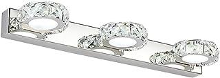 Yaeer LED Crystal Vanity Light 3 Transparent Lights Bathroom Bedroom Wall Lighting Make Up Lamp 18 inch,Cool White,IP44 80...