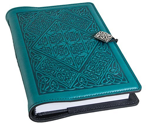 Genuine Leather Refillable Journal Cover with a Hardbound Blank Insert, 6x9 Inches, Celtic Diamond, Teal with a Pewter Button, Made in The USA by Oberon Design