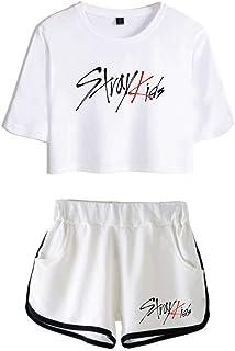 FEIRAN Stray Kids Boy Band Short Shorts de Manga Corta para Mujer y niña Top + Shhort Set A White + White XXL