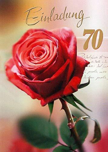 Einladungskarten 70. Geburtstag Frau Mann mit Innentext Motiv rote Rose 10 Klappkarten DIN A6 im Hochformat mit weißen Umschlägen im Set Geburtstagskarten Einladung 70 Geburtstag Mann Frau K94