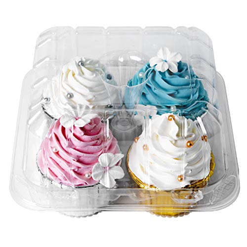 """[25pcs]Clear Cupcake Boxes 4 Cavity Holder,ONE MORE Large 4 Compartment Muffin Containers Plastic Cupcake Carrier with Deep Dome 4"""" High Safe Eco-friendly Material (Clear, 25)"""