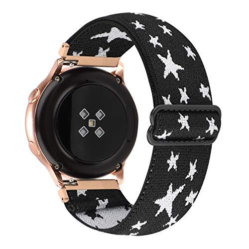 20mm Adjustable Elastic Band Compatible with Samsung Galaxy Active 2/Galaxy Watch Active/Galaxy Watch 3(41mm) Women Stretchy Nylon Loop Replacement for Galaxy Watch 42mm (Black White Star, 20mm)