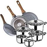 San Ignacio Bateria de cocina 8 piezas en acero inoxidable, con juego de sartenes (22,26,28 cm) en aluminio forjado, inducción, PK3152