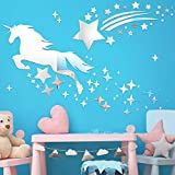 Unicorn Mirror Wall Stickers and Star Acrylic Mirrors Decals Baby Nursery Stickers Unicorn Star Mirrors Wall Decoration for House Living Room Bedroom Kitchen Wall Dining Room Kids Art Decoration