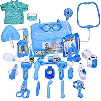 Doctor Medical Kit Pretend & Play Boy & Girl's Gift Doctor Roleplay Educational Learning Set & Durable Box 27 PCs