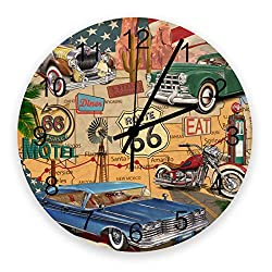 FAMILYDECOR Wooden Wall Clock, 12 Inch Silent Non-Ticking Decorative Round Wall Clocks for Living Room Bedroom Kitchen Office Battery Operated (Map of Route 66 from Los Angeles to Chicago)