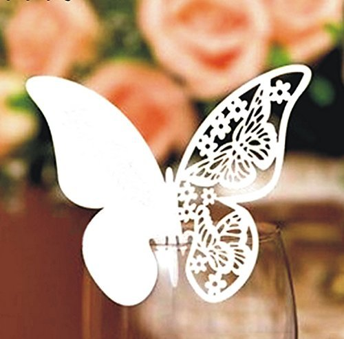 MF2FLAY 100PCS Wedding Party Table Number Name Paper Place Cards Butterfly Wine Glass Cup Decoration for Wedding Party Favor (White)