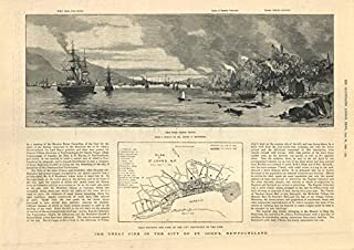 Great Fire of Saint John, Newfoundland. Plan of Damage. Canada - 1892 - Old Antique Vintage map - Printed maps of Canada