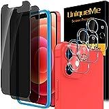 [4 Pezzi] UniqueMe Pellicola compatibile con iPhone 12 mini 5.4 Pollici, [2 Pezzi] Privacy Vetro Temperato Pellicola e [2 Pezzi] Pellicola Fotocamera compatibile con iPhone 12 mini