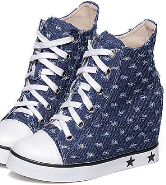 XZZ  Damenschuhe - Stiefel - Lässig - Denim Jeans - Flacher Absatz - Rundeschuh - Blau  | Outlet Online Store