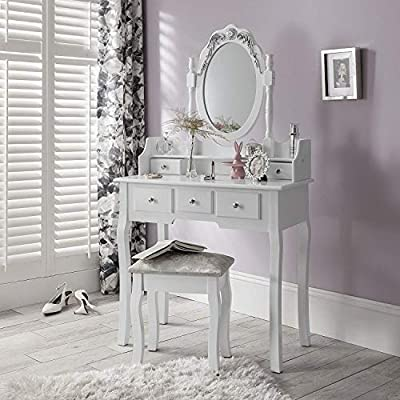 Capri | Dressing Table, Mirror & Stool Set Premium Quality Laura James