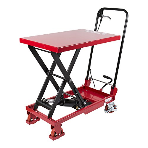 STIER Scheren-Hubtischwagen mit klappbarem Bügel, Fahrbarer Hubtisch mit 150 kg Traglast, Plattform 700x450mm, Hubbereich 220mm-720mm, hydraulisch, Polyurethan-Bereifung