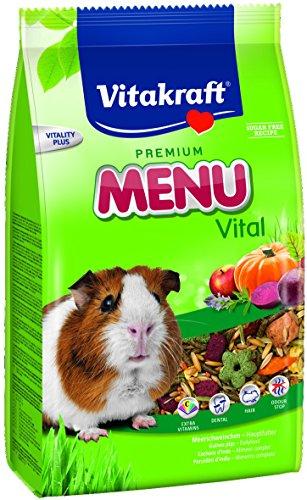 Vitakraft - Menú Premium Vital para Cobayas con Mezcla de Cereales, Frutas y Verduras, Alimento Principal - 1 kg ✅