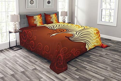 ABAKUHAUS Orange Tagesdecke Set, Phoenix-Vogel in Flammen, Set mit Kissenbezügen Waschbar, für Doppelbetten 220 x 220 cm, Orange Gelb