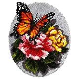 Orchidea ORC.4083 Knüpfteppich-Set mit Blumenmuster und Schmetterlingen, sortiert, 49x61cm