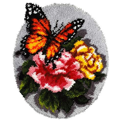 Orchidea - Kit per tappeto con gancio, motivo floreale e farfalla, colori assortiti, 49 x 61 cm