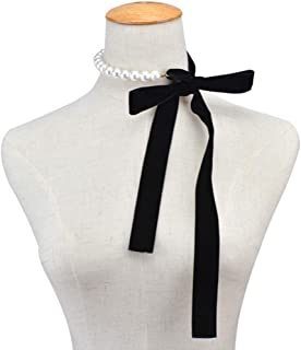 Punk Long Wide Black Velvet Ribbon Choker Bow Tie Simulated Pearl Beads Charm Collar Necklace Gothic Jewelry