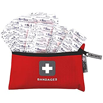 Adhesive Bandages – Pack of 305 Mixed Sizes Fabric Adhesive Bandages + Free Storage Bag Tough and Flexible Cotton Elastic Fabric Strip Bands Aid Healing