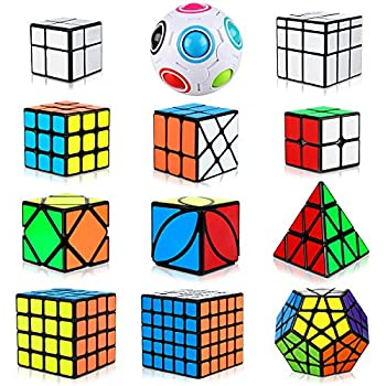 Dreampark Speed Cube Set 12 Pack Cube Bundle Pyramid Cube 2x2 3x3 4x4 5x5 Megaminx Skew Ivy Mirror Cube Magic Rainbow Ball Smooth Sticker Puzzle Cubes Collection for Kids