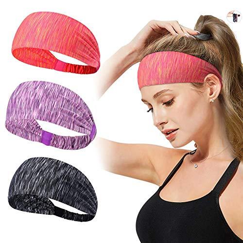 LKCELL 3Stück Haarreif Sport Stirnband Workout Stirnbänder Yoga Haarband Stirnband Damen Herren Haarband Haarband Damen Sport Anti rutsch Workout Stirnbänder Kopf-Verpackung Ideal