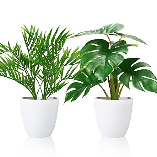 SOGUYI Plantas Artificiales 40cm Tropicali Monstera/Areca Palma Plantas Artificiales de Interior al Aire Libre Plantas Falsas para Oficina en Casa Decoración Moderna (2 Piezas)